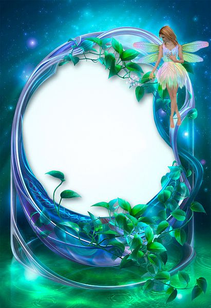 blue-green-flowers frame