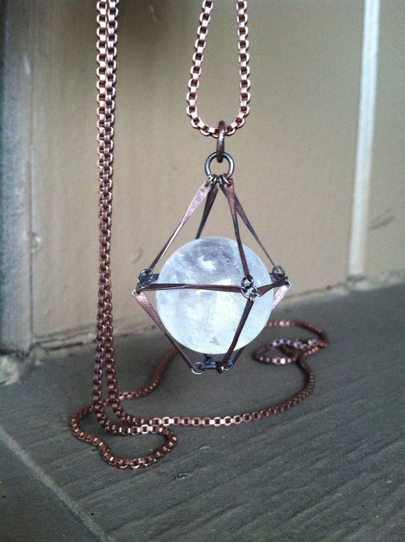 * this listing is for ONE necklace*  A stunning 20 mm clear quartz crystal encased in copper.  Slips easily over the head. Handmade in NY