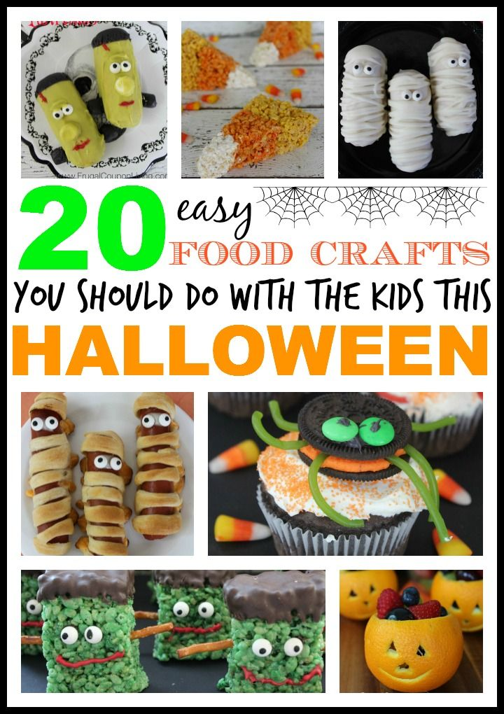 20 Easy and Fun Kids Halloween Food Crafts - DIY activities for children during the October and Fall Season. Great for school parties