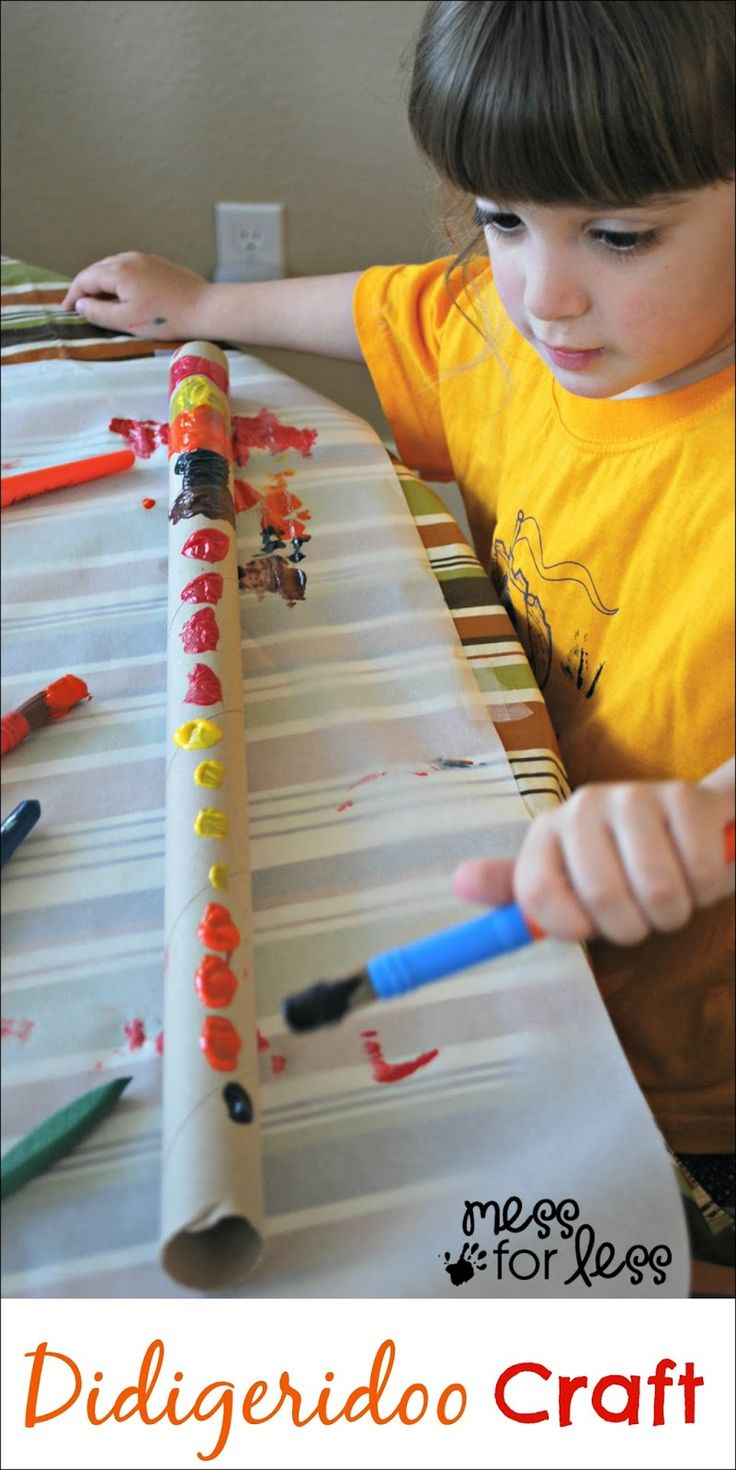 Didgeridoo crafts for kids - children can decorate and create a kids version of this Australian Aboriginal instrument. ~ Mess For Less