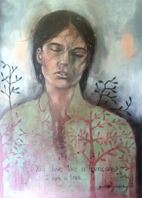 You love like a hurricane...I am a tree. Mixed media - South African artist Nicolette Geldenhuys