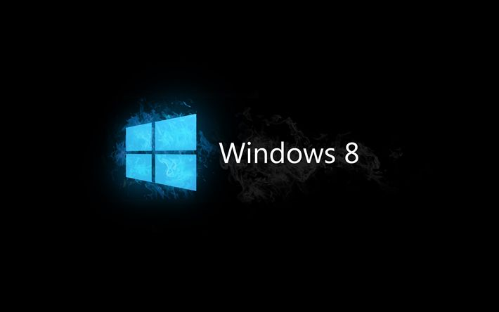 Download wallpapers Windows 8, logo, black background, Windows 8 logo