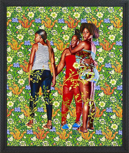 "Kehinde Wiley Studio - Naomi and her Daughters, 2013 Oil on canvas 180 "" x 90.5"""