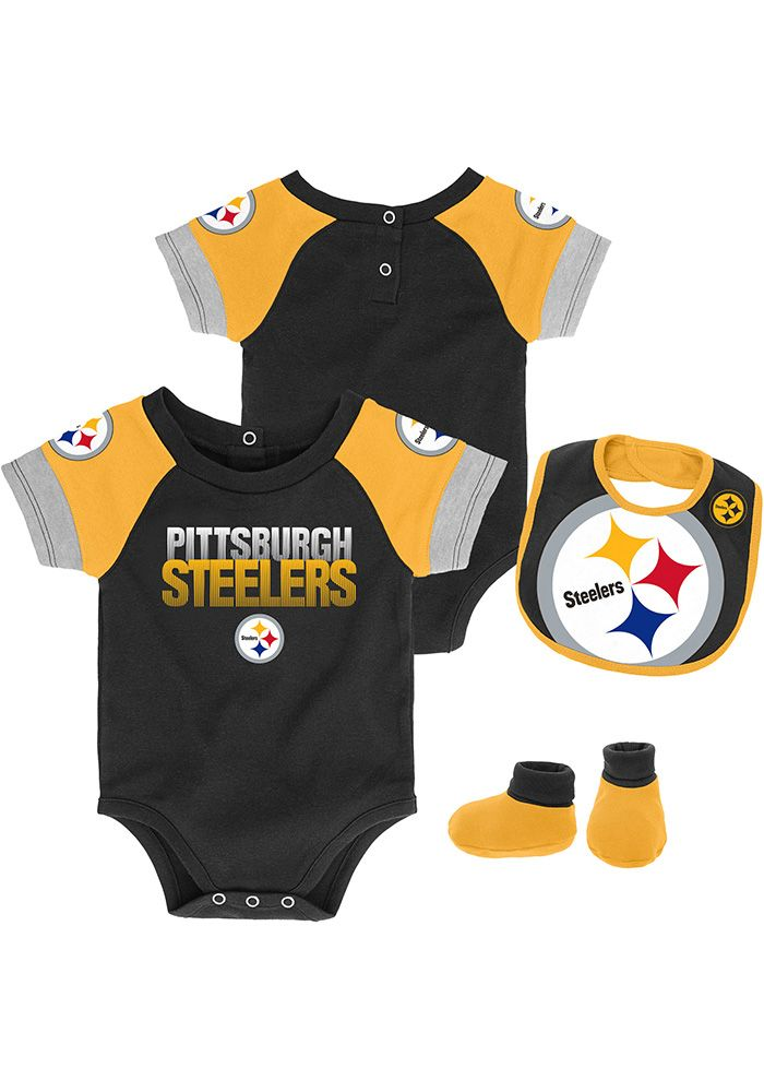 check out a12c5 e7518 Pittsburgh Steelers Baby Black 50 Yard Dash Set One Piece ...