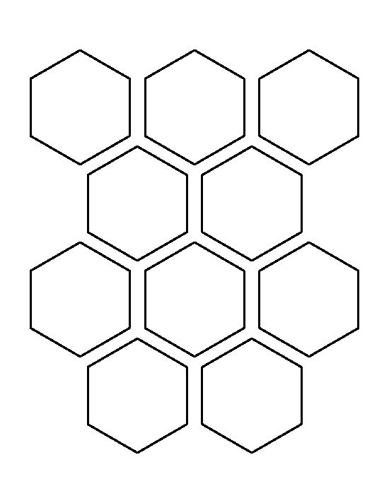 2.5 Hexagon pattern. Use the printable outline for crafts, creating stencils, scrapbooking, and more. Free PDF template to download and print at http://patternuniverse.com/download/two-and-a-half-inch-hexagon-pattern/