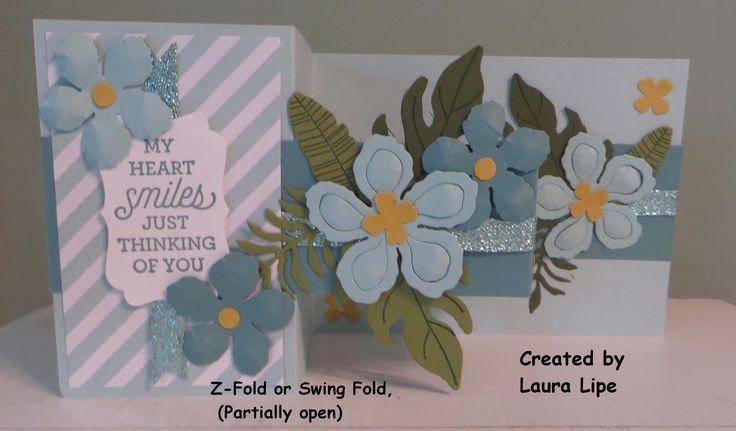 Z-Fold or Swing Fold Card, partically open. Stampin' Up! Botanical Builder Framelits dies.