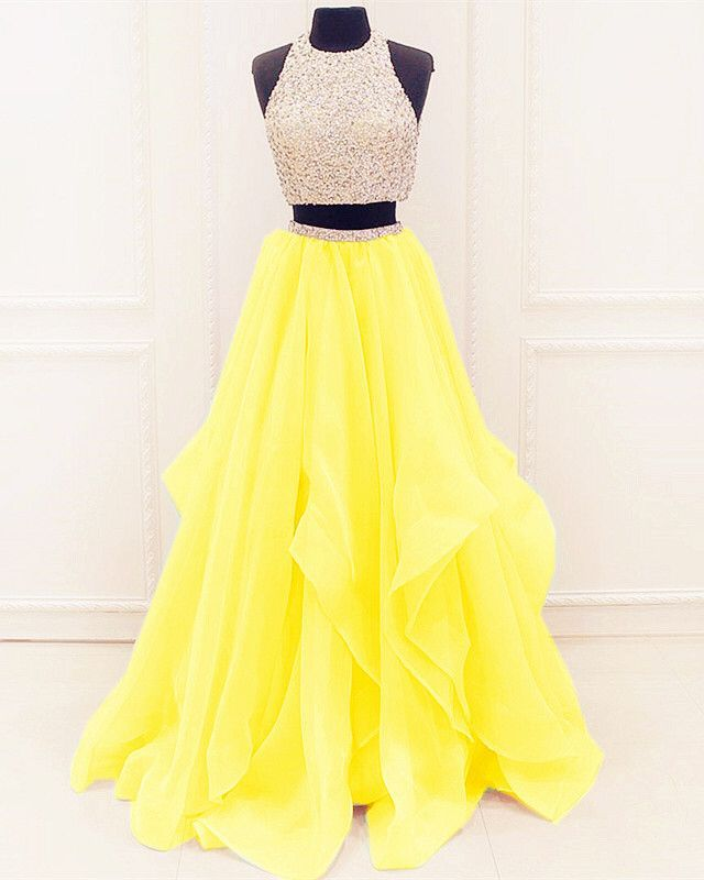 two piece champagne yellow prom dresses