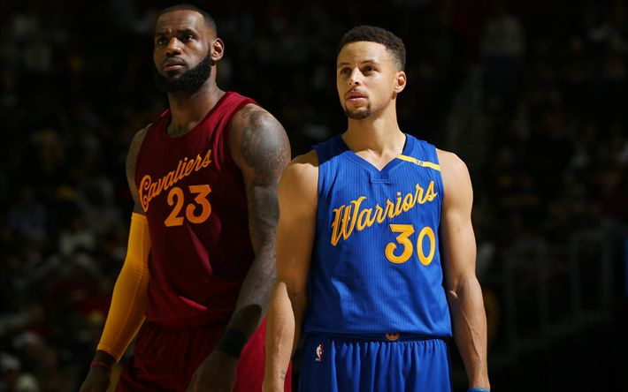 Download wallpapers LeBron James, Cleveland Cavaliers, Stephen Curry, Golden State Warriors, NBA, basketball stars