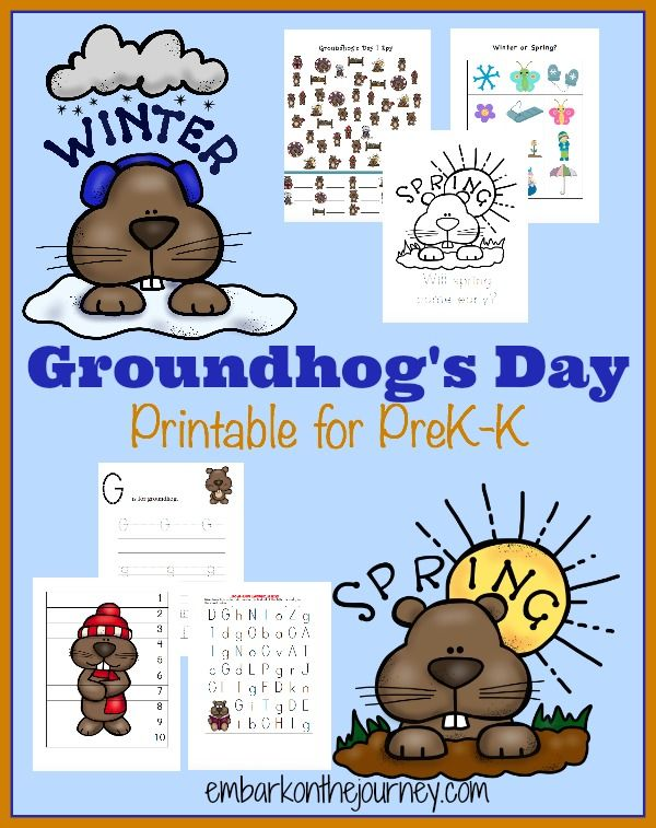 Embark on the Journey has a fun new Groundhog's Day learning pack. This free printable pack will keep your PreK-Grade 1 kiddos enterta