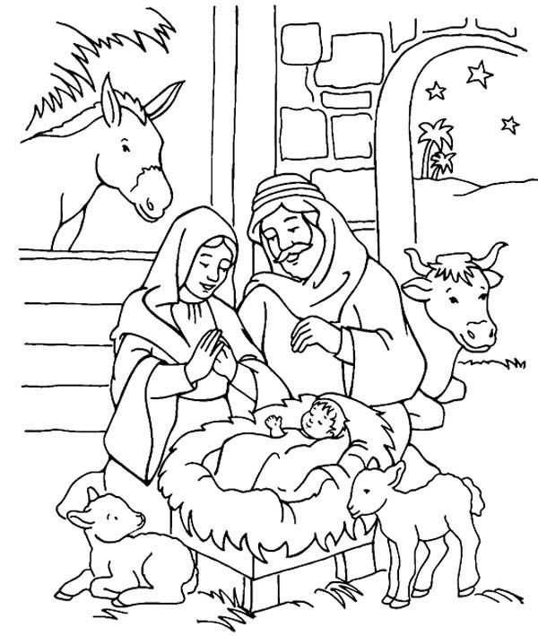 Scenery Of Nativity In Jesus Christ Coloring Page