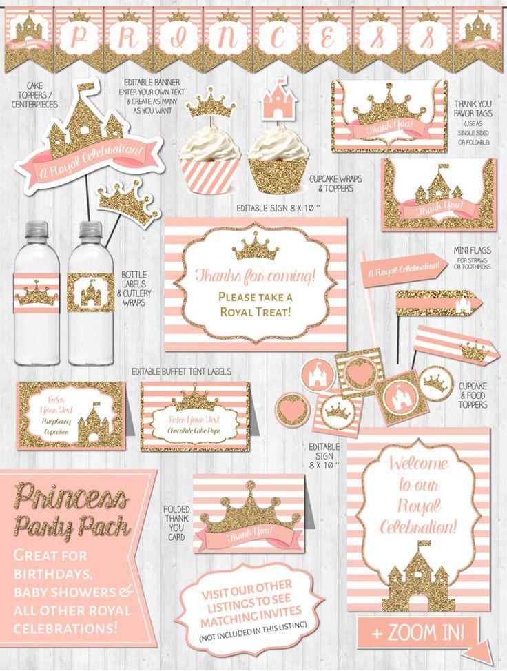 Princess Party Decor: Gold Glitter & Blush Pink - Digital Printable Fi – Wonder.Bash