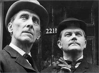 Peter Cushing as Sherlock Holmes and Andre Morell as Dr. John Watson.