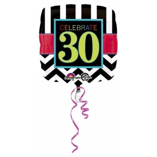 Folie ballon verkeersbord 30 jaar. Deze folie ballon is opgeblazen ongeveer 43 cm groot. Deze folie ballon wordt gevuld met helium geleverd en kan derhalve niet worden geretourneerd.
