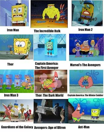 Avengers movies in spongebob