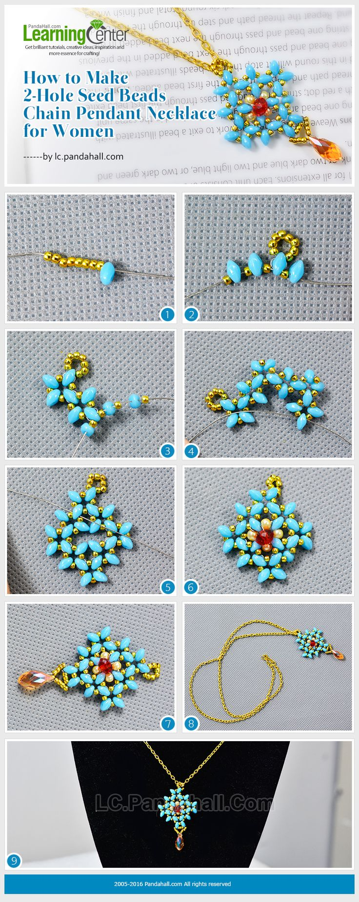 Tutorial on How to Make 2-Hole Seed Beads Chain Pendant Necklace for Women from LC.Pandahall.com