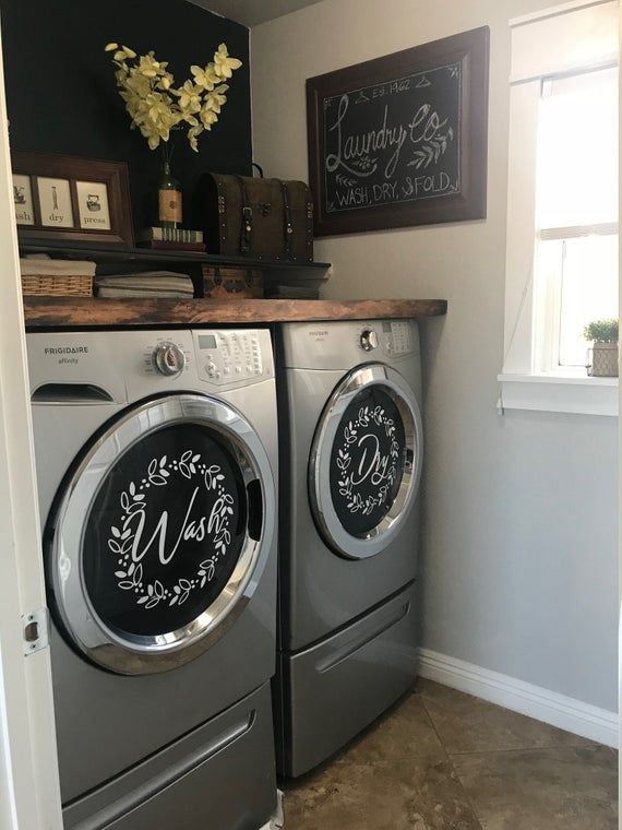 Laundry Room Decor Wash Dry Vinyl Decal Set Washing Machines