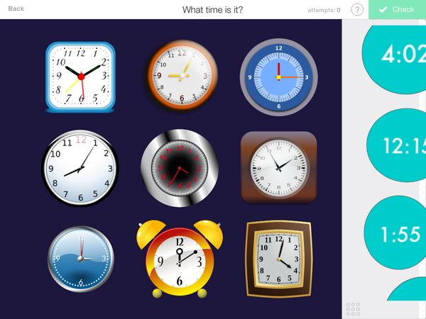 Match the time with the clock
