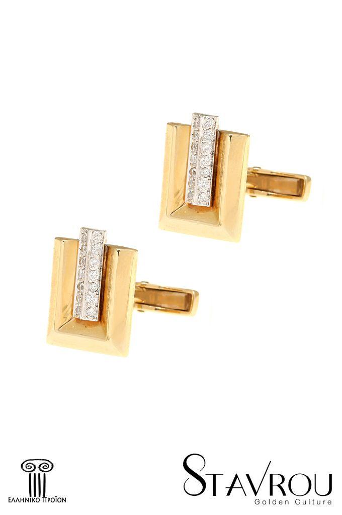 Μανικετόκουμπα με brilliant 0.25 ct, σε χρυσό Κ18 Διαστάσεις : 12 x 15.80 mm #δώρα_για_τον_άνδρα #ανδρική_μόδα  #μανικετόκουμπα