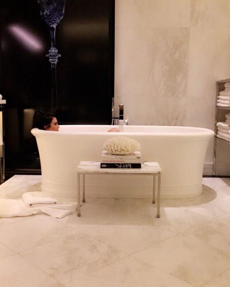 Beige Bathroom Walls With Black Details, Kourtney Kardashian Interior