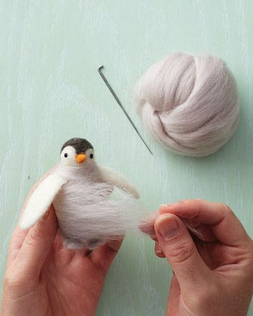 How to Make a Needle-Felted 3D object. This shows a penguin, but you can take the idea and go with it.: