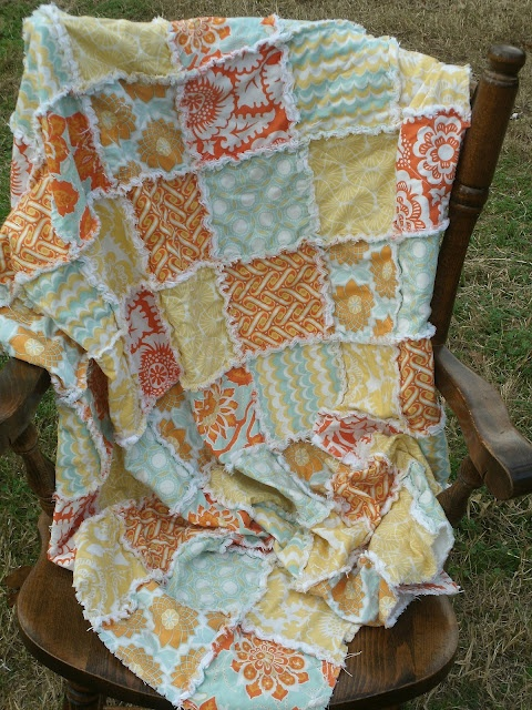 tutorial on sewing a throw size rag quilt....easy and love these colors! ~ Rag Quilts ...