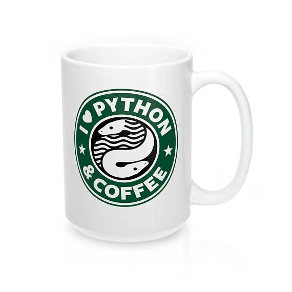 #CodeBean #python #gifts #coding #starbucks #coffeetime #giftideas #giftsforher #giftsforhim #programminghumor This wonderful Python programming mug is perfect for fans of the programming language Python and programmers that fuel their code with refreshing hot coffee.  The the Starbucks inspired design is sure to compliments as well as signaling a valuable coding skill.   - Durable white ceramic mug