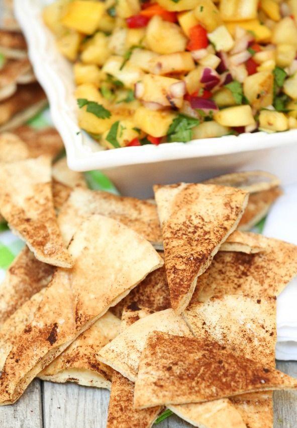Estos eran tan bueno y barato de hacer!  Canela al horno Pita Chips de Baja en calorías, baja en grasa, Snack Saludable