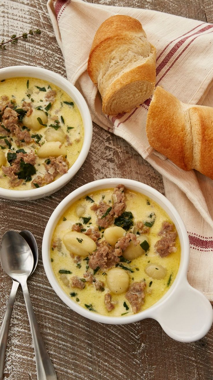 "Sausage and Gnocchi Soup - This hearty and comforting soup is a riff on Zuppa Toscana or ""Tuscan Soup."" Serve with a side of crusty bread, and this quick and easy meal is complete. (Vegan Bread Crockpot)"