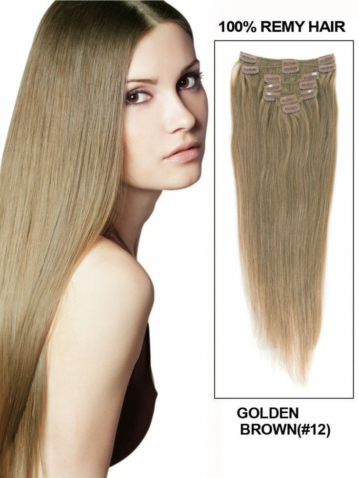 22 best clip in hair extensions images on pinterest blondes golden brown12 18 9pcs straight clip in remy hair extensions pmusecretfo Image collections