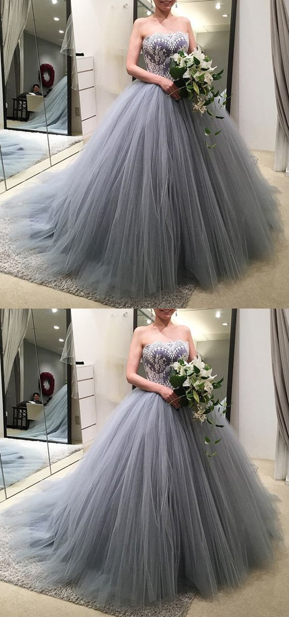 Silver gray tulle wedding dresses ballgowns for bride