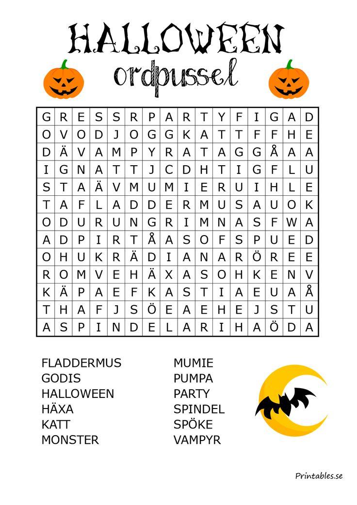 Halloweeninspirerat ordpussel 1