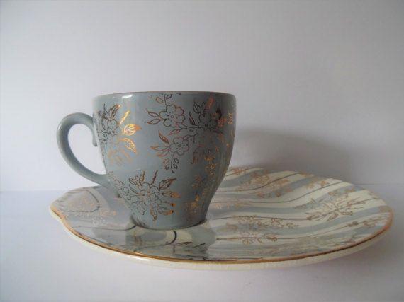 Vintage ceramica teacup e panino piatto di SewLovesVintage su Etsy