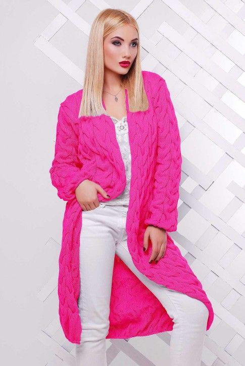 "Кардиган длинный ярко-розовый ""LOLO""  #кардиган#вязаныйкардиган#женскаяодежда#вязанаяодежда#"
