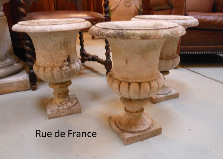 Antique marble garden urns