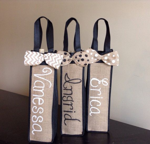 Personalized Burlap Wine Bag. Personalized Bridesmaids Gift. Wine Lover Gift. on Etsy, $10.00