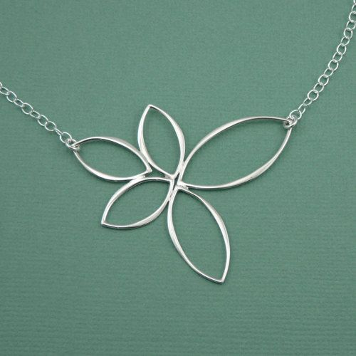 Floating Lotus Necklace - handmade yoga jewelry - sterling silver pendant - christmas gift idea