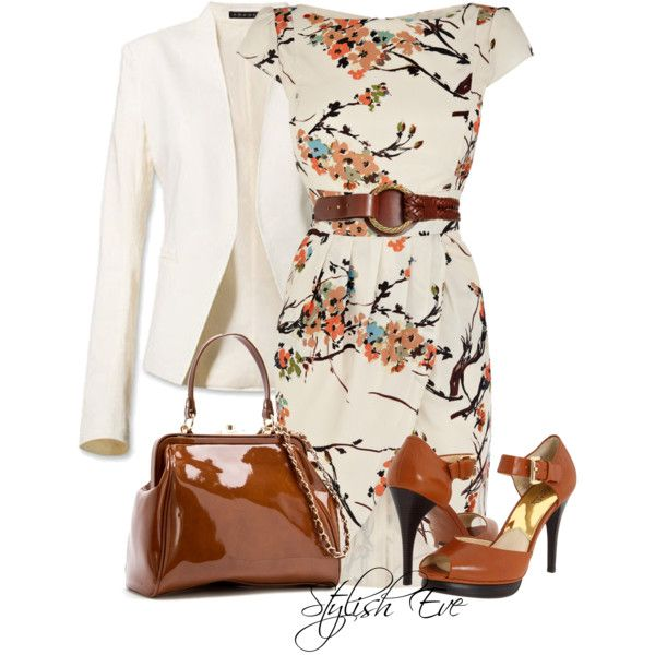 The off white blazer with browns and simple design on the dress. Love it.