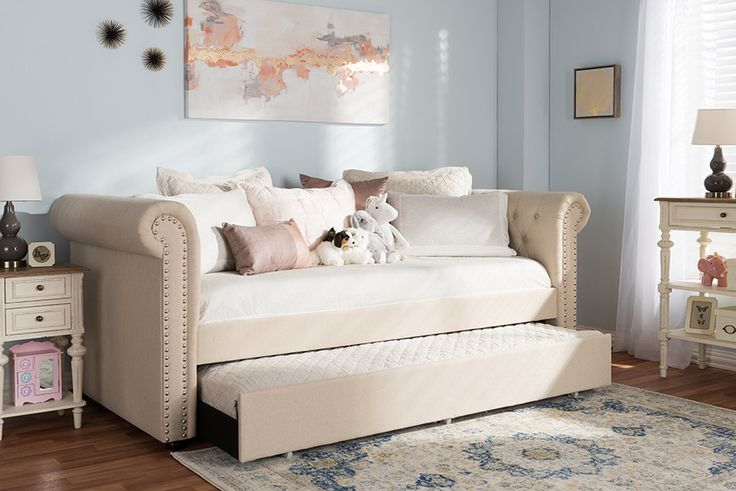 Baxton Studio Mabelle Modern and Contemporary Beige Fabric Trundle Daybed - Grey
