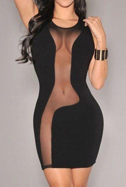 Sexy Scoop Neck Sleeveless Bodycon See-Through Slimming Women's Dress