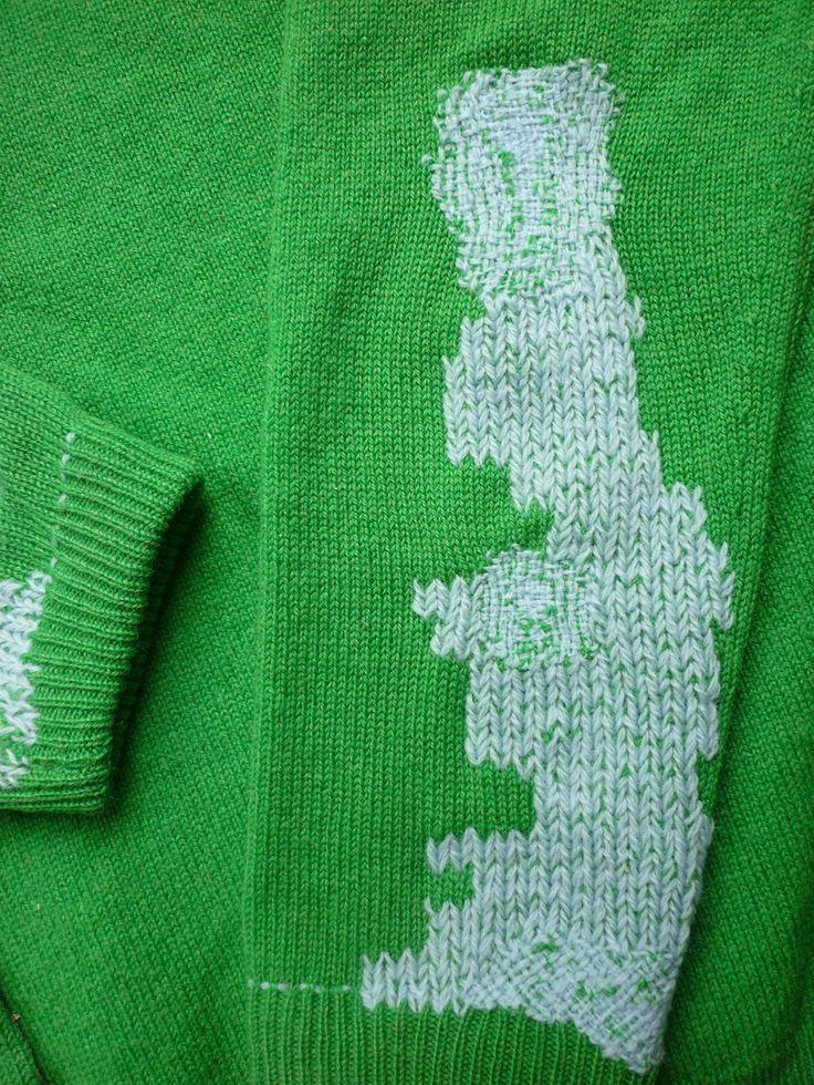 Vintage cardigan repaired with vintage wool
