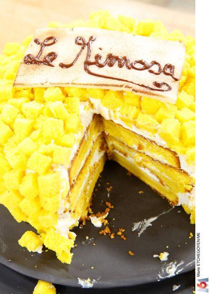 Le Mimosa (gâteau au pain de Gênes, crème mascarpone, ganache de masquage au chocolat)