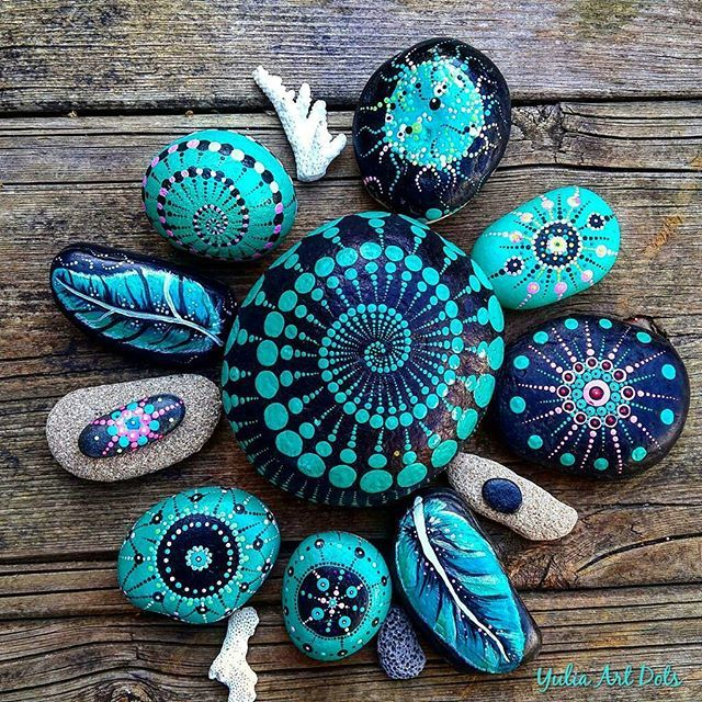 #YuliaArtDots #stoneflower #pebbles #rocks #stones #turquoise #dots #dotwork #feathers #corals #myart #art #etsy #