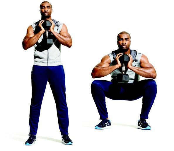 Goblet Squat — The Best Push-Pull Routine to gain muscle - The Guide to Getting Gains—In One Month - Men's Fitness