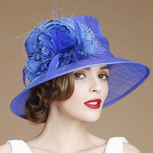 Designer Hats for Women | Designer Royal Blue Linen Feather Dress Derby Hats for Church Women