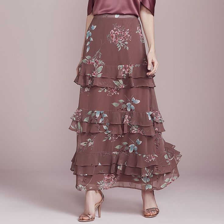 LC Lauren Conrad Dress Up Shop Collection Tiered Ruffle Maxi Skirt - Women's, Drk Purple