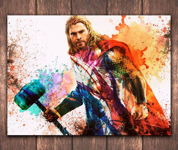 The Avengers digital Thor A3 watercolor poster download, Avengers Digital…