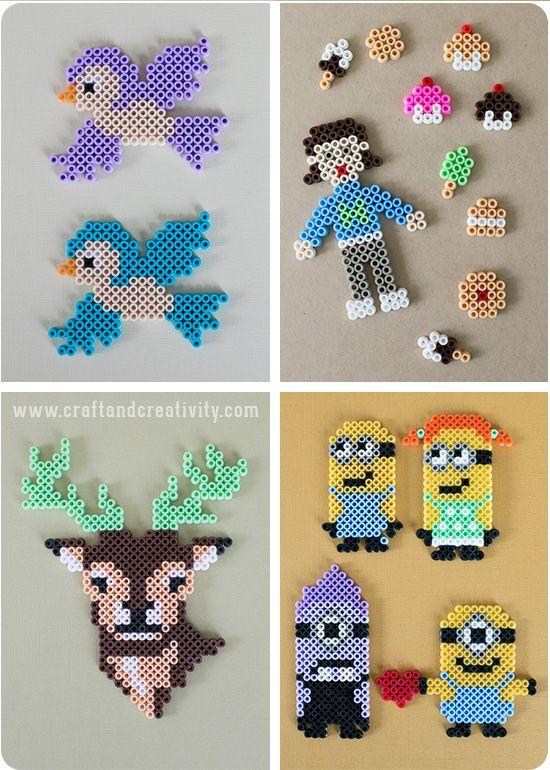 Hama bead ideas....even without a translator, you can figure out how to do the different patterns.