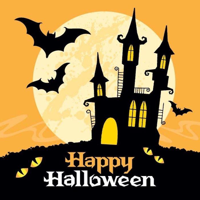 Happy Halloween Hintergrund Mit Einem Schloss, Vollmond, Fledermäuse Und  Katzenaugen