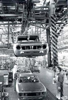Alfa Romeo's production line at the old Portello factory in Milan.