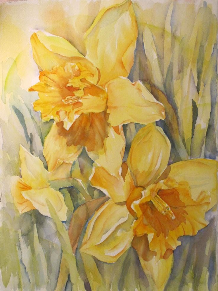 44 best Watercolor Flowers Daffodils images on Pinterest ...